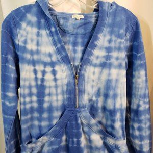 SM blue white tie dyed french terry sweatshirt NEW